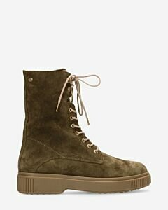 Lace up boot suede green