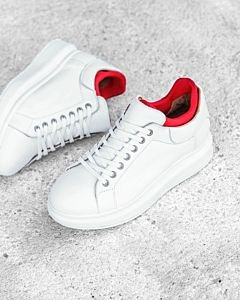 White-lace-up-sneaker-smooth-leather-with-neoprene-sock-red