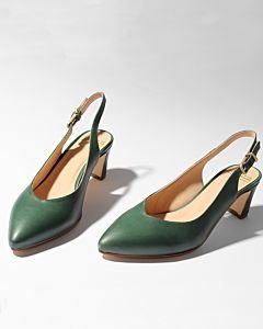 Slingback-pump-smooth-leather-green