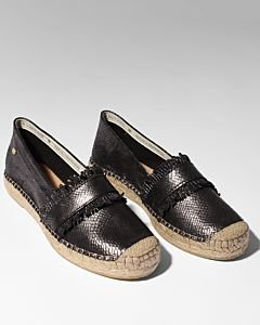 Espadrille-loafer-shiny-printed-leather-with-fringes-black