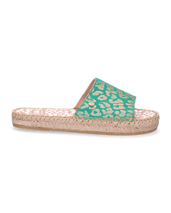 Slipper-metallic-geprint-suède-groen