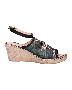 ESPADRILLE-6,5-CM-SNAKE-PRINTED-LEATHER-Green
