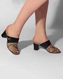 Slipper-with-heel-printed-leather-Taupe-