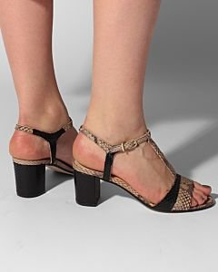 Heeled-sandal-printed-leather-Taupe