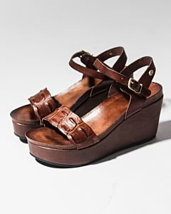 Sandal-with-wedge-smooth-leather-Dark-Brown