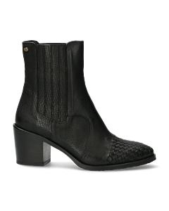 Chelsea-boot-with-woven-toe-from-lizard-printed-black-leather