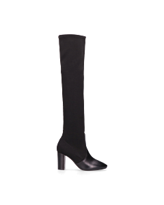 Overknee-boot-smooth-leather-knitted-textile-Black