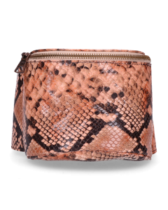 Hip-bag-snake-printed-leather-Coral-Rose