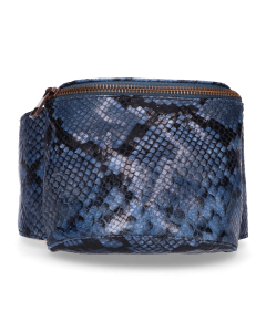 Hip-bag-snake-printed-leather-Dark-Blue
