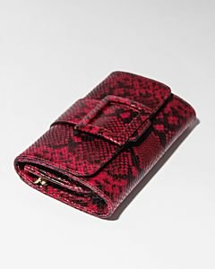 Clutch-geprint-leer-donkerrood-