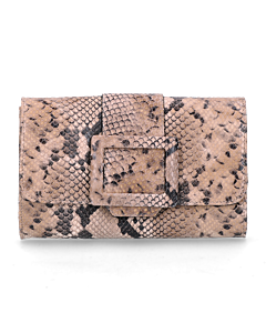 Clutch-geprint-leer-taupe-