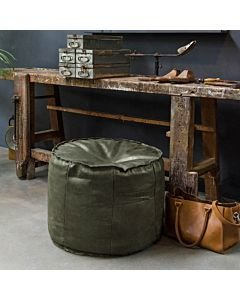 POUF-GINGER-HAND-BUFFED-LEATHER-Dark-Green