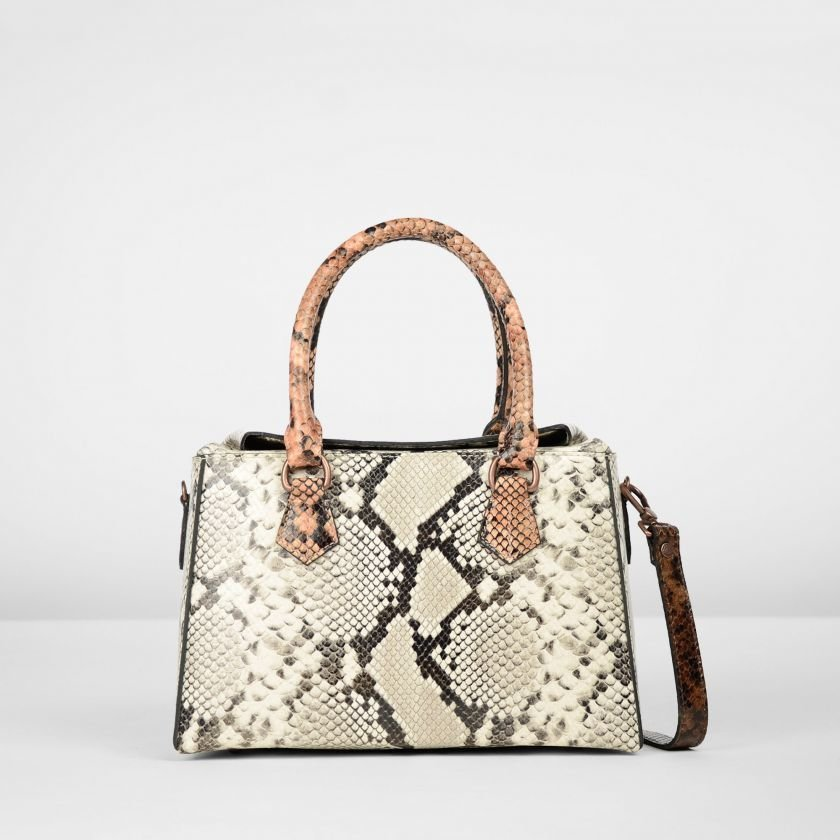 HANDBAG-MEDIUM-SNAKE-PRINT-LEATHER-Multi-Taupe-Coral-D-Brown
