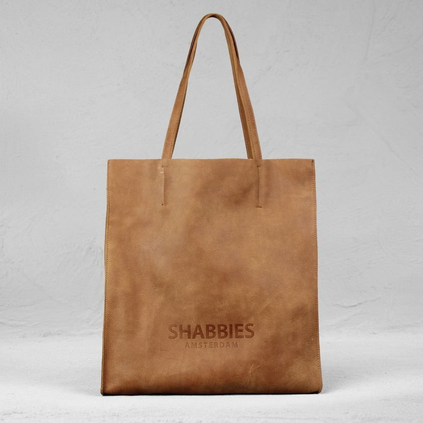 Shopping-bag-hand-buffed-leather-Cognac