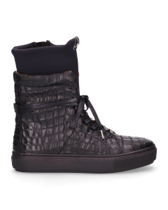 Sneaker-croco-printed-leather-with-neopreme-Black-