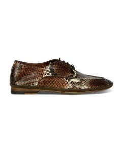 Lace-up-shoe-snake-print-leather-dark-brown-coral