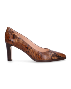Pump-snake-printed-leather-Brown