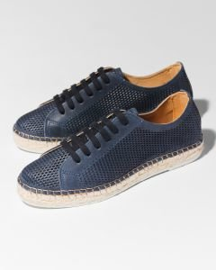 Lace-up-espadrille-cutted-smooth-leather-Jeans-Blue
