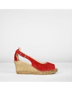 Espadrille-wedge-suede-with-buckle-red