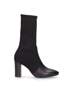 Ankle-boot-smooth-leather-with-knitted-textile-Black