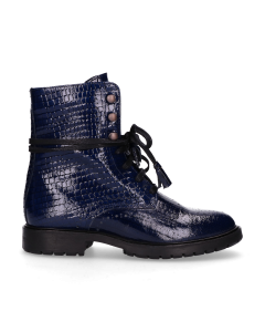 Ankle-boot-with-lace-up-printed-patent-leather-Dark-Blue
