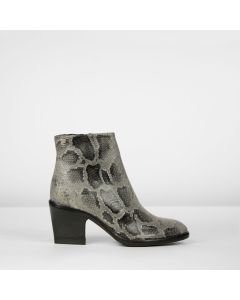 Ankle boot python printed leather Taupe
