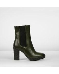 Ankle boot smooth leather Dark Green