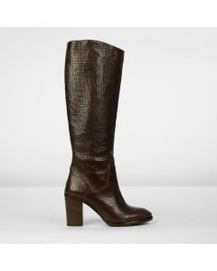 Boot printed leather Brown