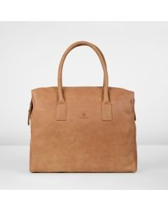 Handbag hand buffed leather Cognac
