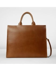 Laptop bag vegetable tanned leather Brown