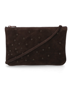 Eveningbag-with-studs-suede-Dark-Brown