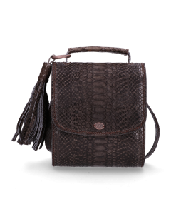 Cross-body-geprint-leer-antraciet
