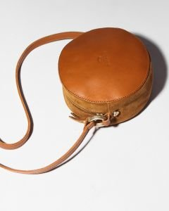 Evening-bag-suede-and-smooth-leather-Cognac