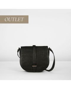 Cross body natural tanned leather Black