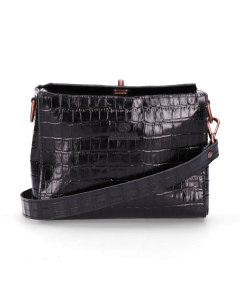 Shoulderbag-croco-printed-leather-Black