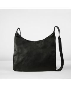 Cross body natural tanned grain leather Black