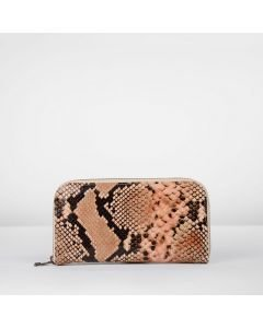 Wallet-medium-snake-printed-leather-coral