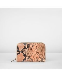 Wallet-small-snake-printed-leather-coral