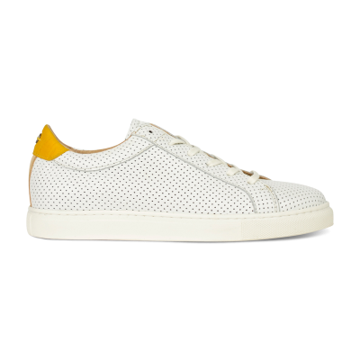 Sneaker-perforated-smooth-leather-white-yellow