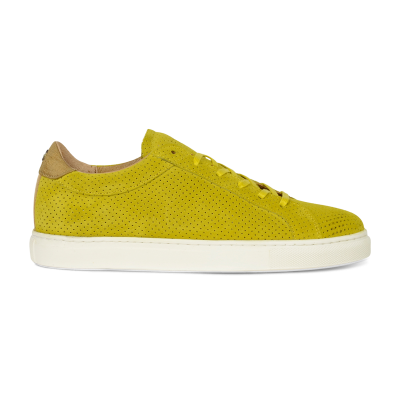 Sneaker-perforated-suede-mustard-yellow
