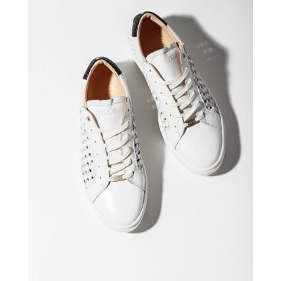 Sneaker-woven-smooth-leather-White
