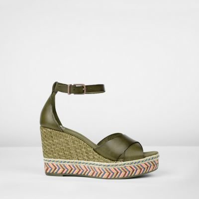 Espadrille-wedge-smooth-leather-olive
