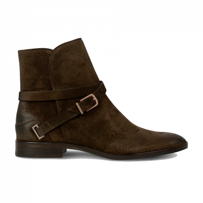 Ankle-boot-suede-Dark-Brown