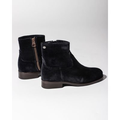 Ankle-boot-velvet-Denim-Blue