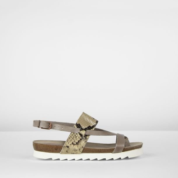 Sandal natural dyed leather Taupe