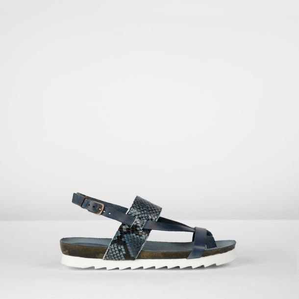 Sandal natural dyed leather Blue