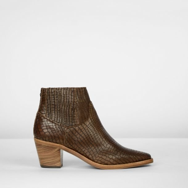 Ankle boot printed leather Brown
