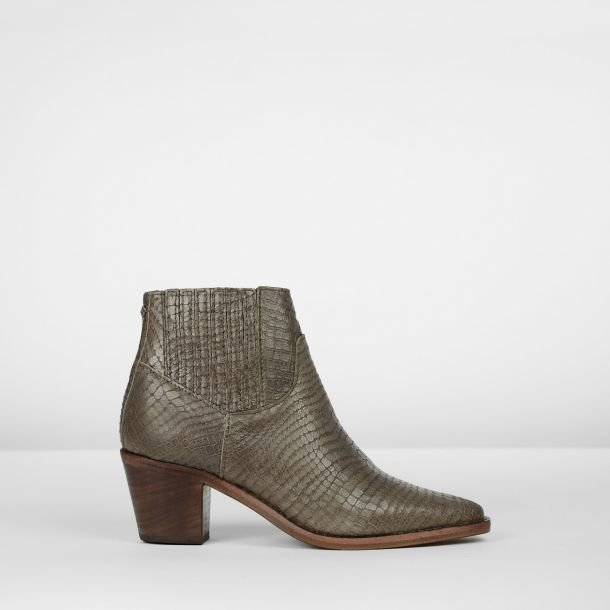 Ankle boot printed leather Grey
