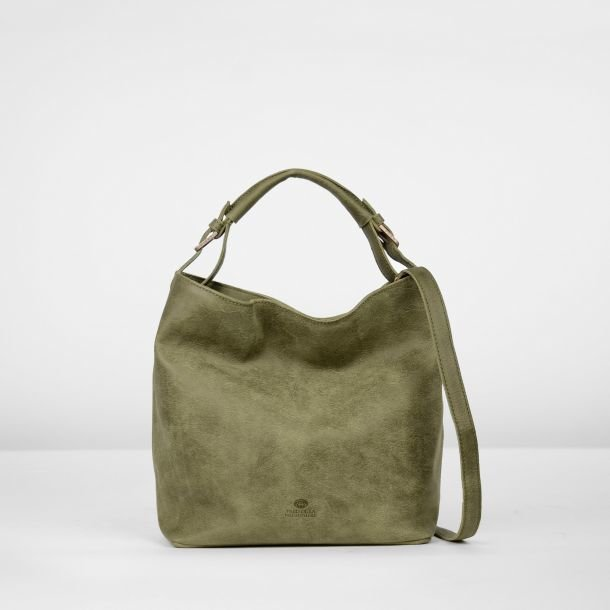 Shoulderbag hand buffed leather Olive