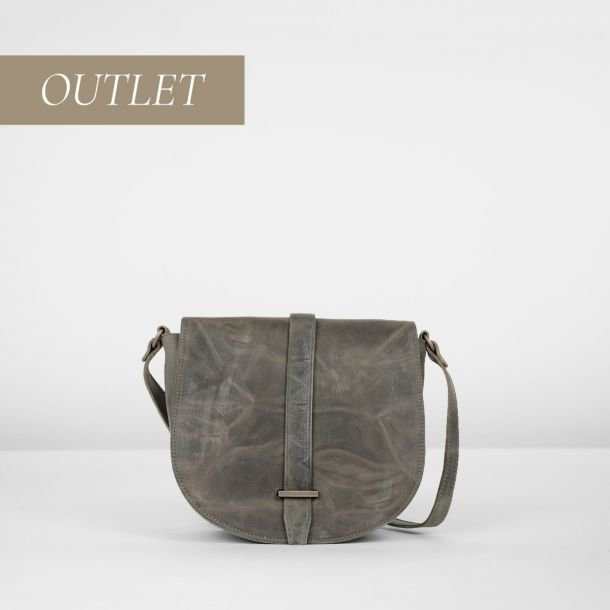 Cross body natural tanned leather Grey